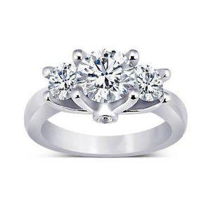 1.71 ct. Round diamonds 3 stone anniversary ring w